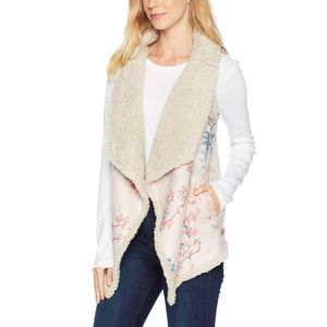 Wubby Reversible Vest Women Pink Sherpa Floral NWT